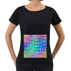 Background Texture Pattern Colorful Women s Loose Fit T Shirt (black)