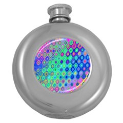 Background Texture Pattern Colorful Round Hip Flask (5 oz)