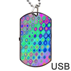 Background Texture Pattern Colorful Dog Tag USB Flash (One Side)