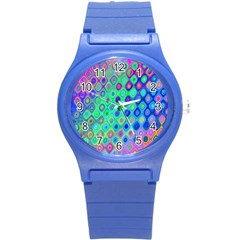 Background Texture Pattern Colorful Round Plastic Sport Watch (S)
