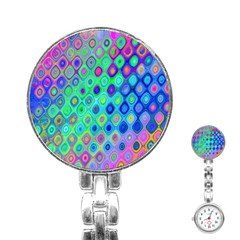 Background Texture Pattern Colorful Stainless Steel Nurses Watch