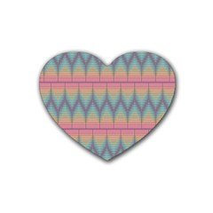 Pattern Background Texture Colorful Rubber Coaster (Heart)