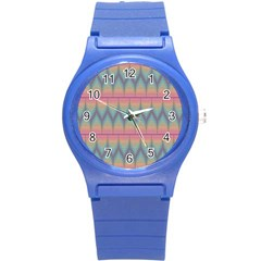 Pattern Background Texture Colorful Round Plastic Sport Watch (S)