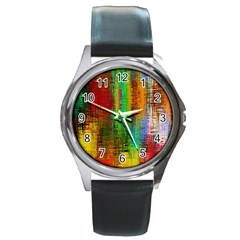Color Abstract Background Textures Round Metal Watch