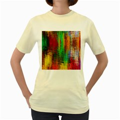 Color Abstract Background Textures Women s Yellow T-Shirt