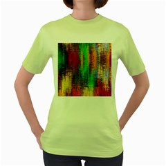 Color Abstract Background Textures Women s Green T Shirt