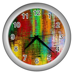 Color Abstract Background Textures Wall Clocks (silver)
