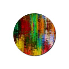Color Abstract Background Textures Rubber Coaster (Round)