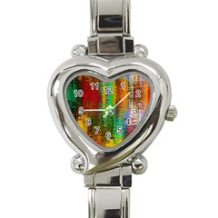 Color Abstract Background Textures Heart Italian Charm Watch