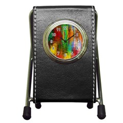 Color Abstract Background Textures Pen Holder Desk Clocks
