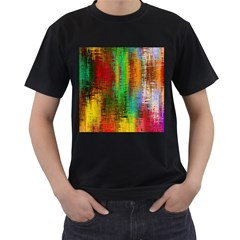 Color Abstract Background Textures Men s T-Shirt (Black) (Two Sided)