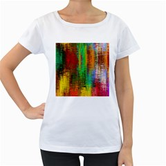 Color Abstract Background Textures Women s Loose Fit T Shirt (white)