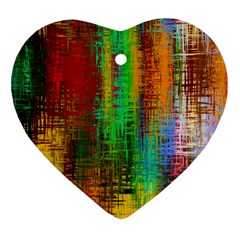 Color Abstract Background Textures Heart Ornament (Two Sides)