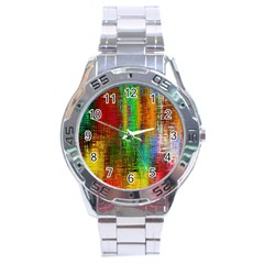 Color Abstract Background Textures Stainless Steel Analogue Watch