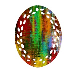 Color Abstract Background Textures Oval Filigree Ornament (Two Sides)