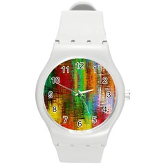 Color Abstract Background Textures Round Plastic Sport Watch (M)