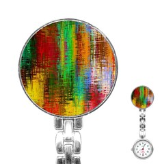 Color Abstract Background Textures Stainless Steel Nurses Watch