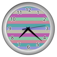 Backgrounds Pattern Lines Wall Wall Clocks (Silver)