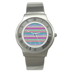 Backgrounds Pattern Lines Wall Stainless Steel Watch