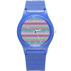 Backgrounds Pattern Lines Wall Round Plastic Sport Watch (S)