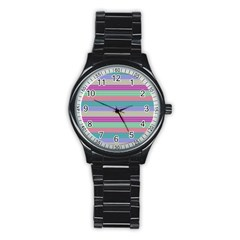 Backgrounds Pattern Lines Wall Stainless Steel Round Watch
