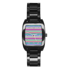Backgrounds Pattern Lines Wall Stainless Steel Barrel Watch