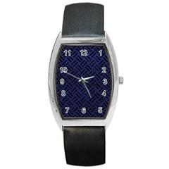 WOV2 BK-MRBL BL-LTHR (R) Barrel Style Metal Watch