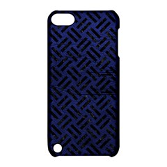 Woven2 Black Marble & Blue Leather (r) Apple Ipod Touch 5 Hardshell Case With Stand