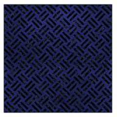 Woven2 Black Marble & Blue Leather (r) Large Satin Scarf (square)