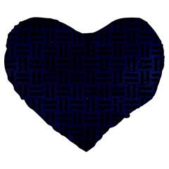 WOV1 BK-MRBL BL-LTHR (R) Large 19  Premium Flano Heart Shape Cushions