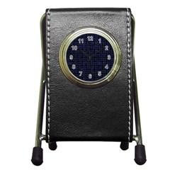 WOV1 BK-MRBL BL-LTHR Pen Holder Desk Clocks