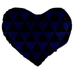 Triangle3 Black Marble & Blue Leather Large 19  Premium Flano Heart Shape Cushion