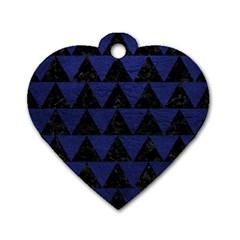 TRI2 BK-MRBL BL-LTHR Dog Tag Heart (One Side)