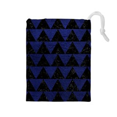 Triangle2 Black Marble & Blue Leather Drawstring Pouch (large)