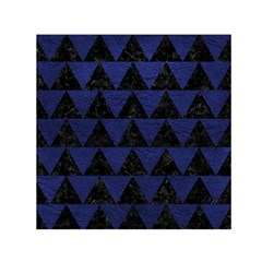 Triangle2 Black Marble & Blue Leather Small Satin Scarf (square)