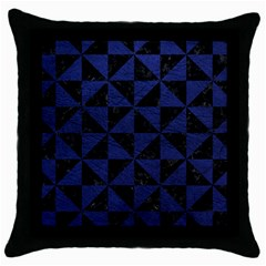 TRI1 BK-MRBL BL-LTHR Throw Pillow Case (Black)