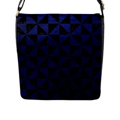 TRI1 BK-MRBL BL-LTHR Flap Messenger Bag (L)