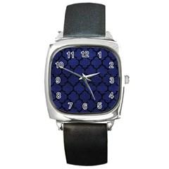 TIL1 BK-MRBL BL-LTHR (R) Square Metal Watch
