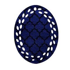 TIL1 BK-MRBL BL-LTHR (R) Oval Filigree Ornament (Two Sides)