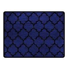 Tile1 Black Marble & Blue Leather (r) Double Sided Fleece Blanket (small)
