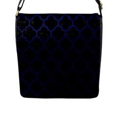 TIL1 BK-MRBL BL-LTHR Flap Messenger Bag (L)