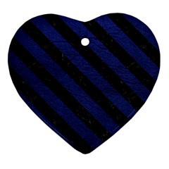 STR3 BK-MRBL BL-LTHR (R) Heart Ornament (Two Sides)