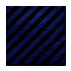 STR3 BK-MRBL BL-LTHR Tile Coasters