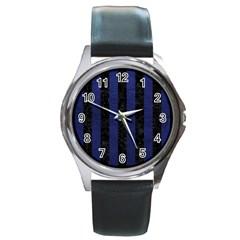 STR1 BK-MRBL BL-LTHR Round Metal Watch