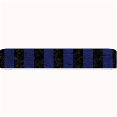 Stripes1 Black Marble & Blue Leather Small Bar Mat