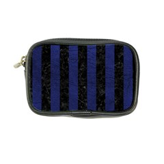Stripes1 Black Marble & Blue Leather Coin Purse