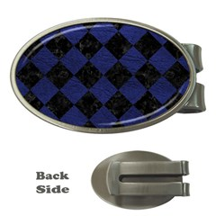 SQR2 BK-MRBL BL-LTHR Money Clips (Oval)