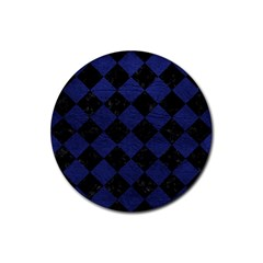 Square2 Black Marble & Blue Leather Rubber Coaster (round)