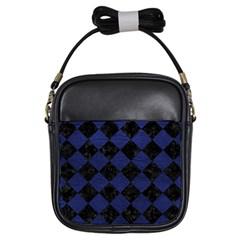 SQR2 BK-MRBL BL-LTHR Girls Sling Bags