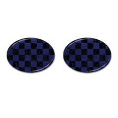 SQR1 BK-MRBL BL-LTHR Cufflinks (Oval)